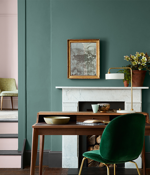 Pleat Luxury Green by Little Greene Paint, available from Fabric Gallery and Interiors