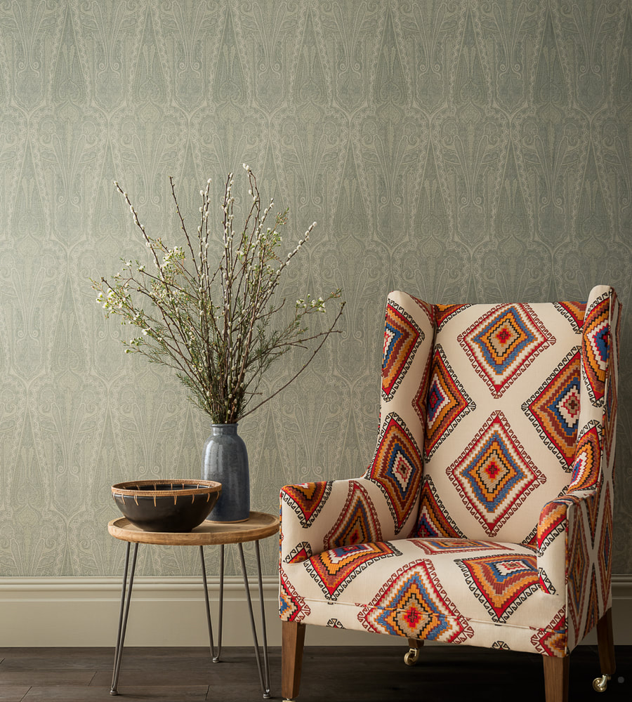 Troika Paisley Wallpaper available from Fabric Gallery and Interiors