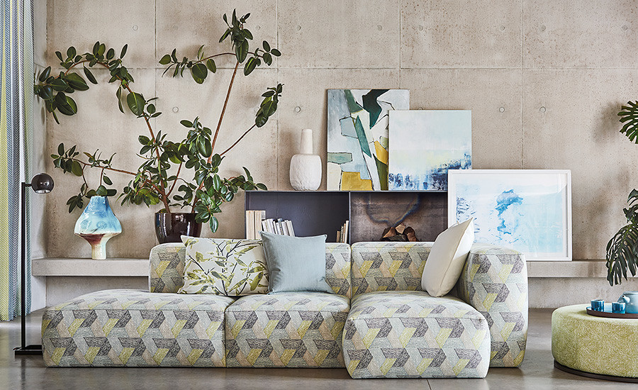 Sarouk contemporary print by Romo Fabrics available from Fabric Gallery & Interiors