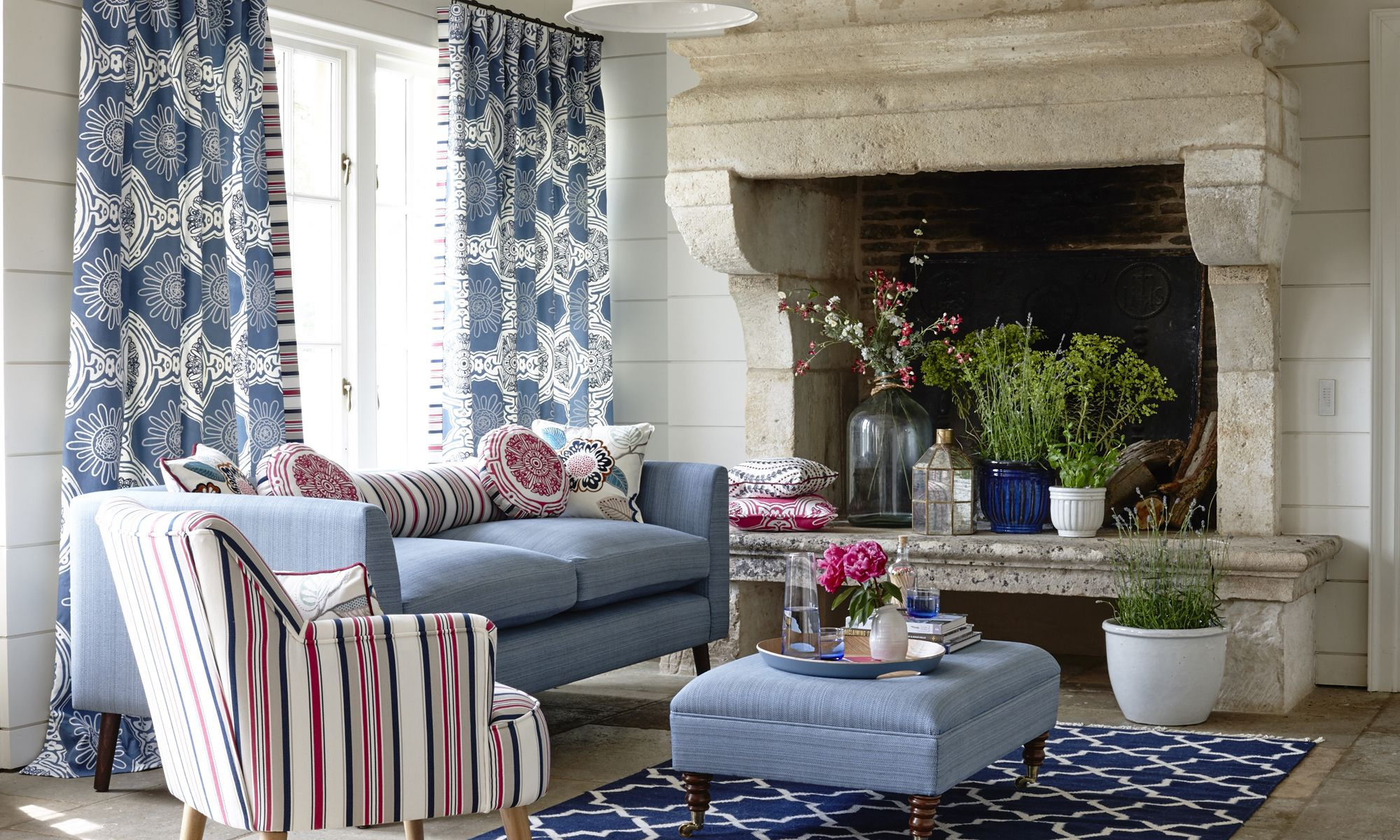 Clarke and Clarke Cote d'Azure curtains from Fabric Gallery and Interiors