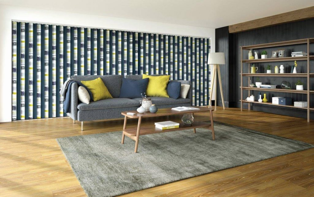 Multi-coloured vertical blinds colour coordinated with a modern lounge