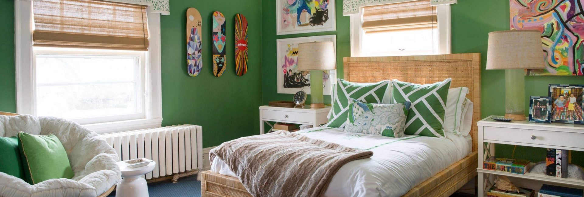 Green themed teenager's bedroom - recreate the style at Fabric Gallery and Interiors, York