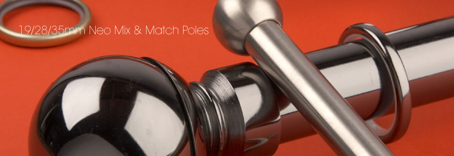 Neo mix and match metal curtain poles available from Fabric Gallery and Interiors in Dunnington, York