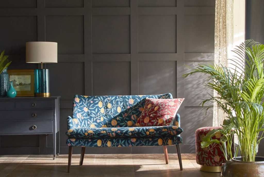 William Morris Rouen velvet upholstery fabric from Fabric Gallery & Interiors