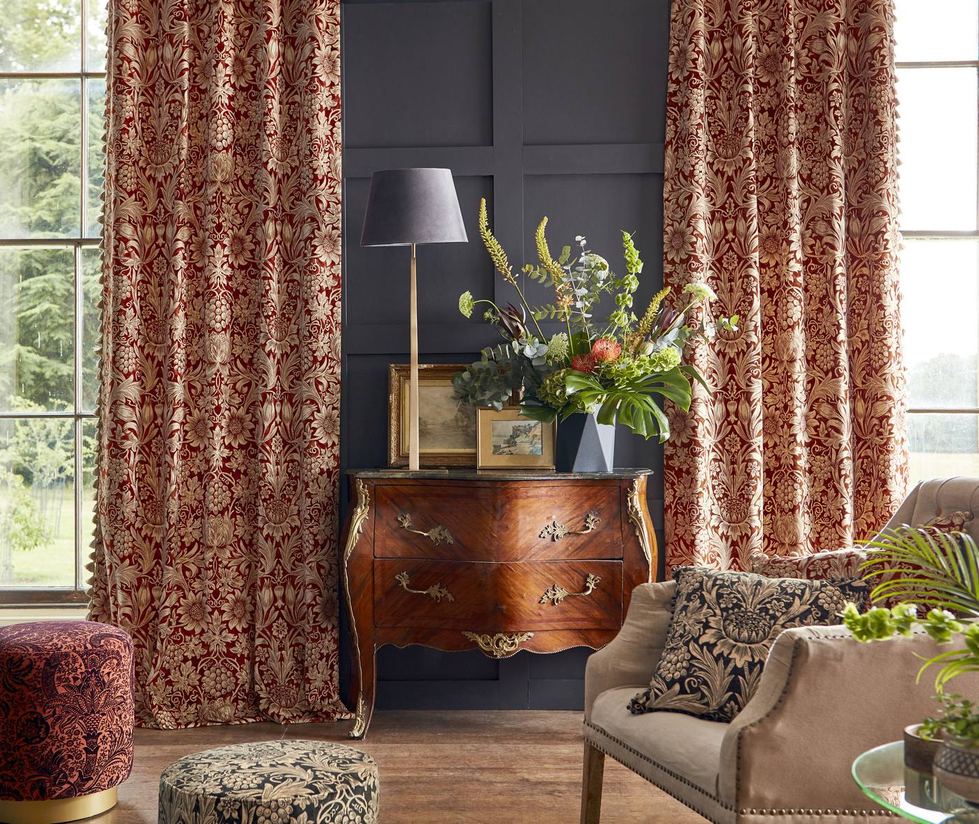 Curtains in York - Wm Morris bespoke curtains in Morris Rouen Velvet - buy from Fabric Gallery & Interiors