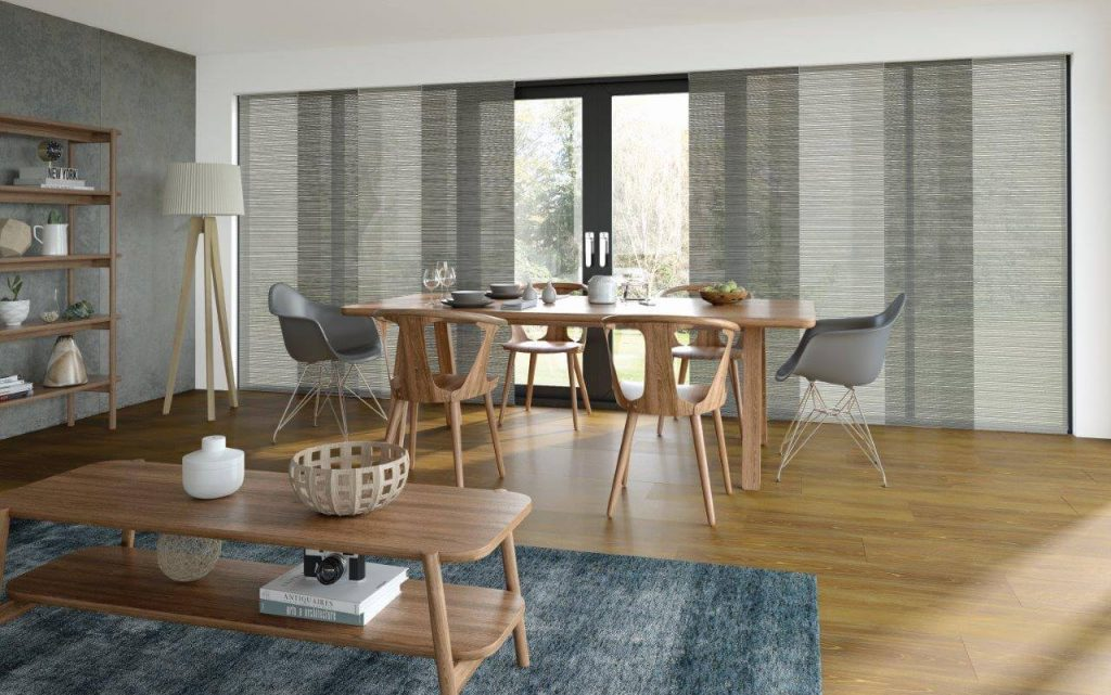transclucent panel blinds at patio doors