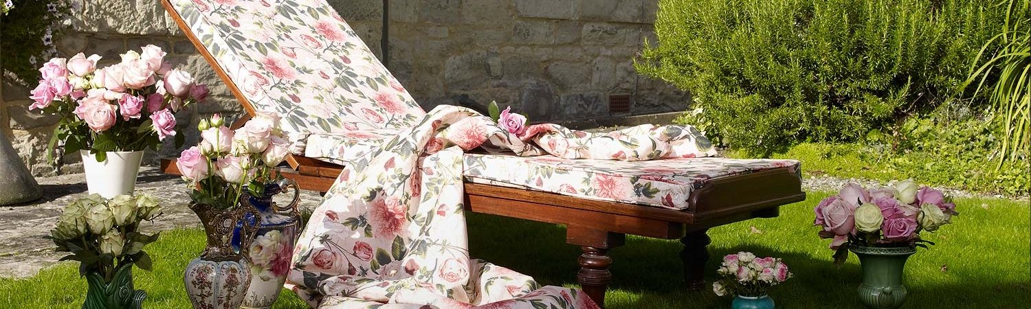 Elanbach Grand Tour fabric on a day bed - available from Fabric Gallery and Interiors in Dunnington, York