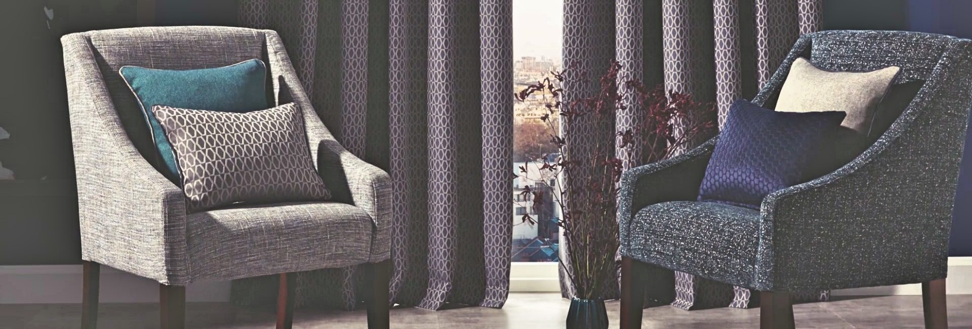 iliv fabric collection shown on chairs, cushions and curtains - available from Fabric Gallery and Interiors in Dunnington, York