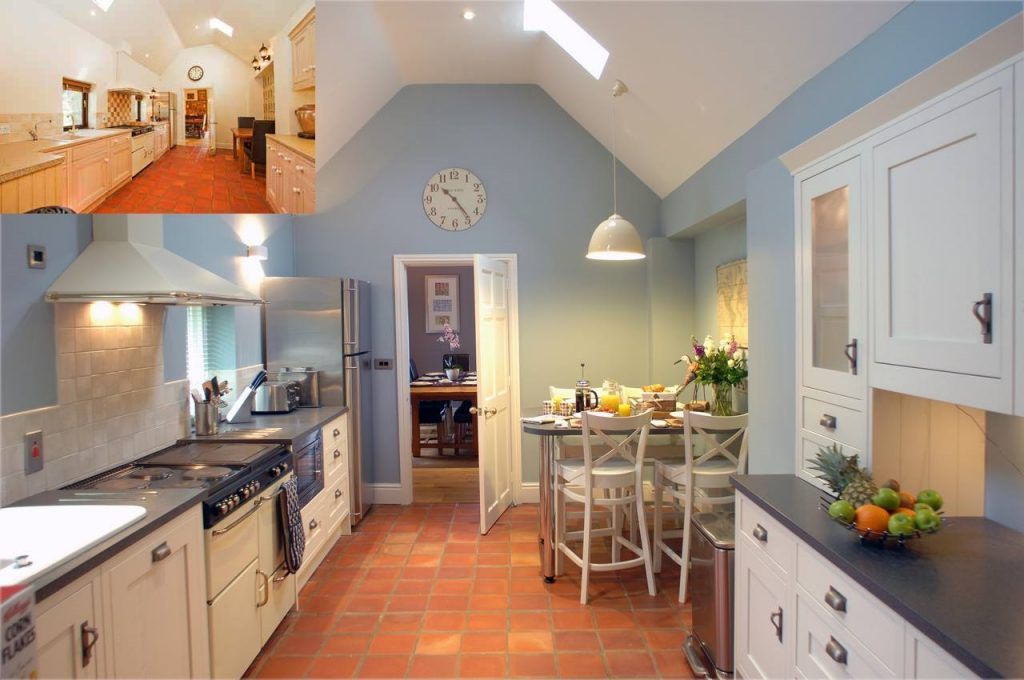Light and airy kitchen with breakfast bar updating a 40 year old construction - before and after photo - copyright Fabric Gallery & Interiors
