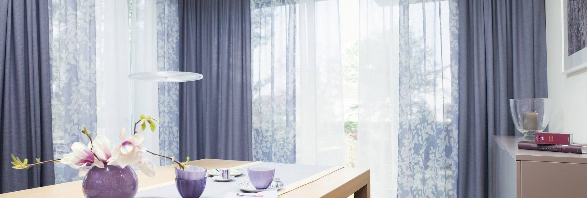 Ado voile curtains in Cassis colour - available from Fabric Gallery and Interiors in Dunnington, York