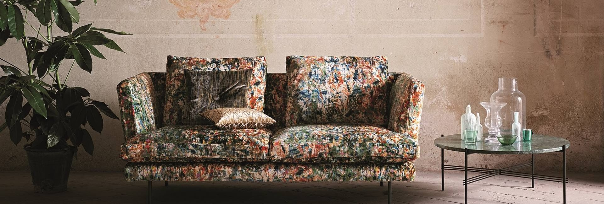 Romo Black Edition Herbaria fabric upholstered onto a sofa - available from Fabric Gallery and Interiors in Dunnington, York