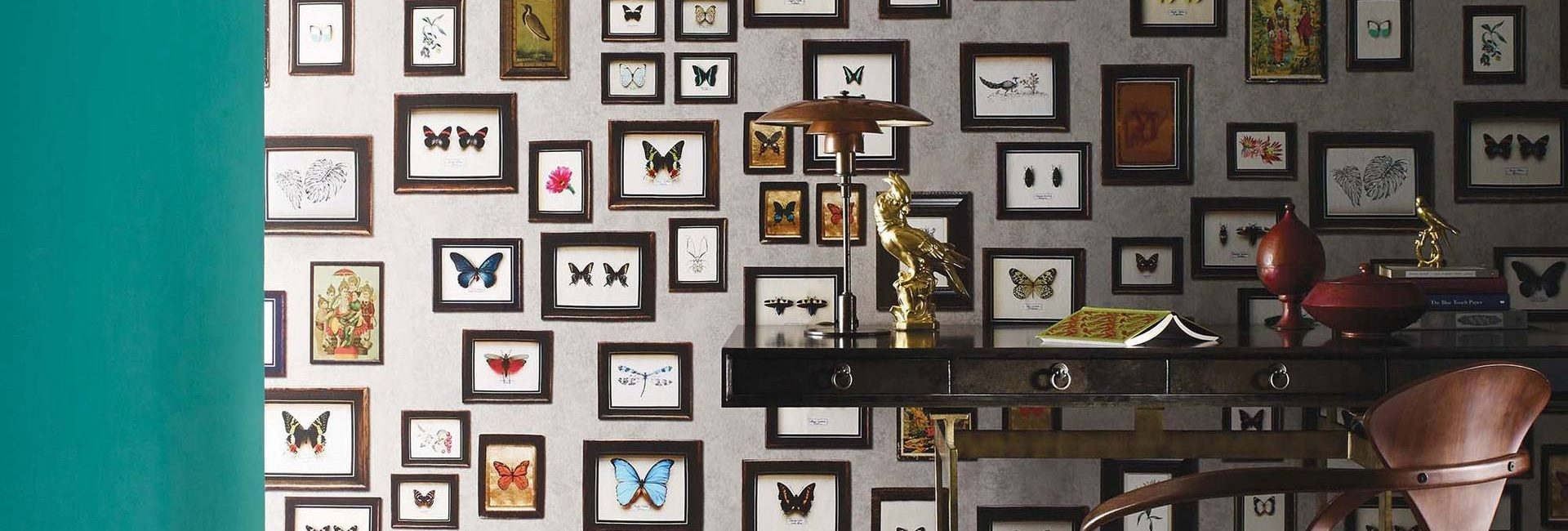 Matthew Williamson Narissa collection with butterfly wallpaper - available from Fabric Gallery and Interiors in Dunnington, York