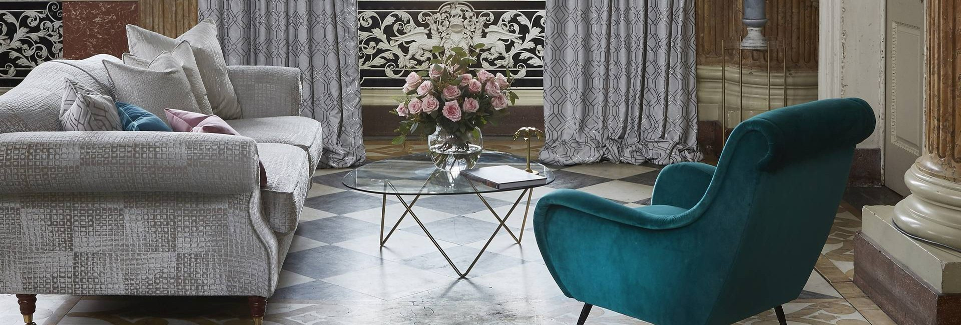 Prestigious Textiles Phoenix collection of fabrics made into curtains and upholstery - available from Fabric Gallery and Interiors in Dunnington, York