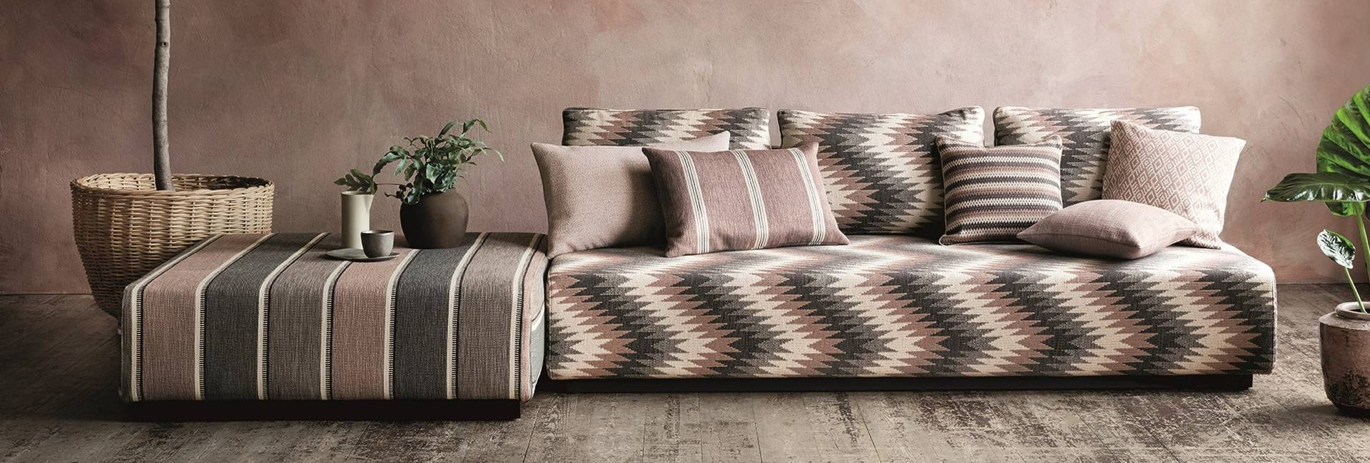 Romo Soraya fabric collection covering a sofa and stool - available from Fabric Gallery and Interiors in Dunnington, York