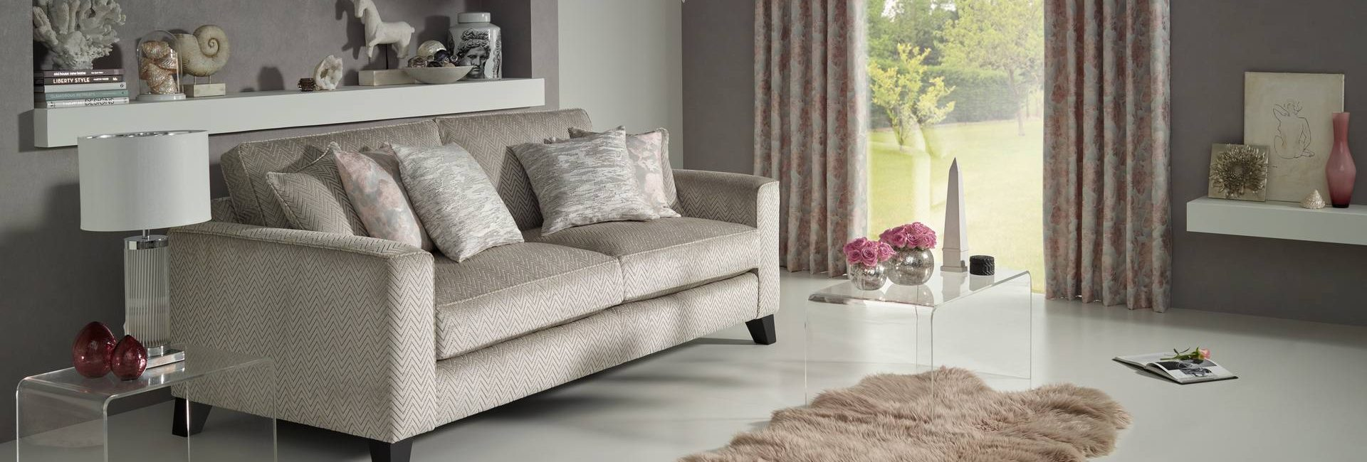 Today Interiors Makino collection of fabrics as curtains and on a sofa - available from Fabric Gallery and Interiors in Dunnington, York
