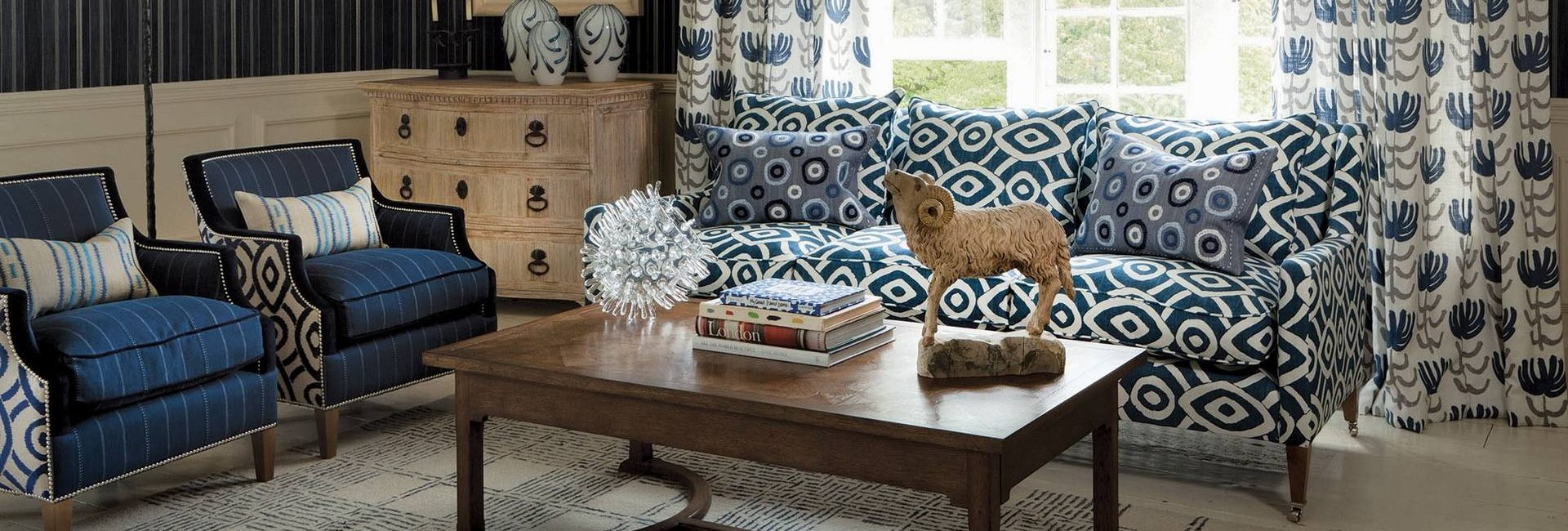 William Yeoward Alberesque fabric collection for upholstery and curtains - available from Fabric Gallery and Interiors in Dunnington, York