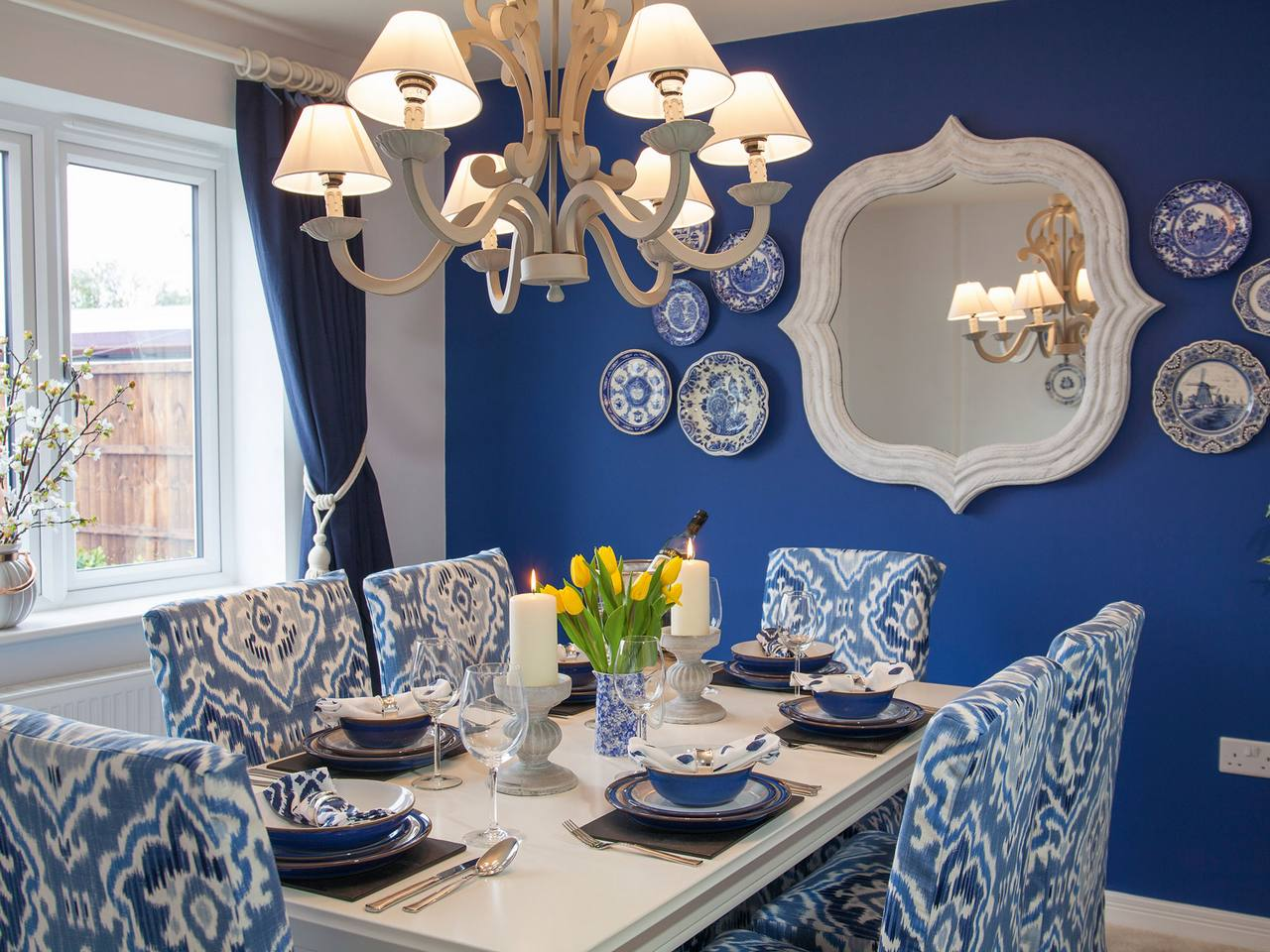 Wedgewood blue style dining room - recreate this with Fabric Gallery and Interiors, York