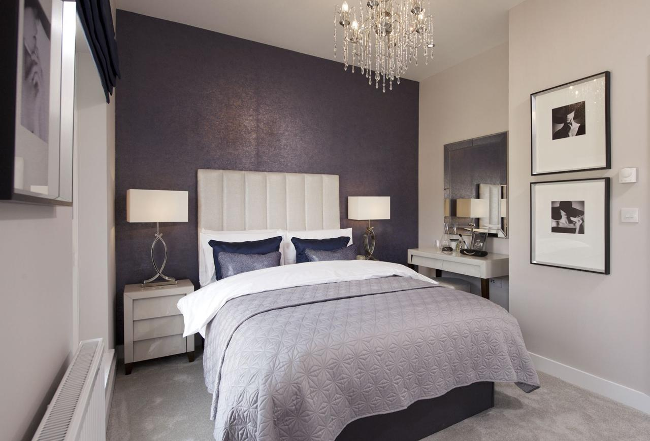 Modern bedroom in mauve colour scheme - recreate this with Fabric Gallery and Interiors of York