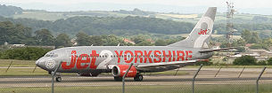 Visit Fabric Gallery and Interiors by air - photo of Jet2 plane at Leeds airport