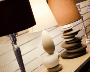 Picture of lamps in the Fabric Gallery and Interiors Showroom