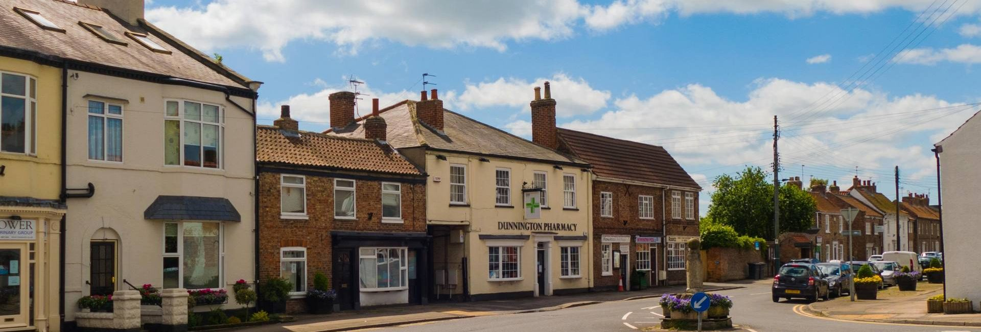 Photo of the heart of Dunnington village near York, home of Fabric Gallery and Interiors.