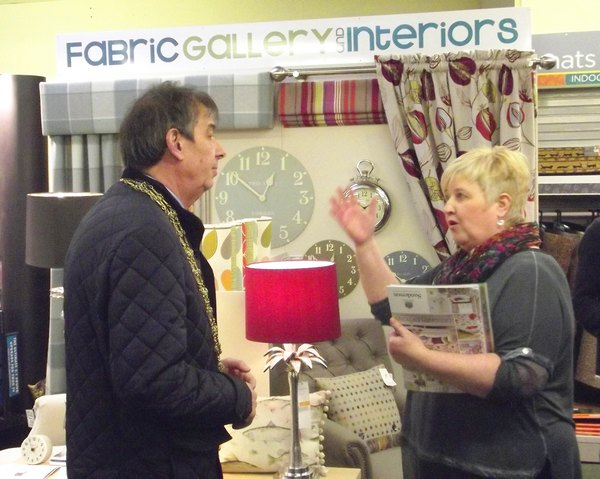 The Lord Mayor of York visits the Fabric Gallery & Interiors stand at the York Lifestyle Event