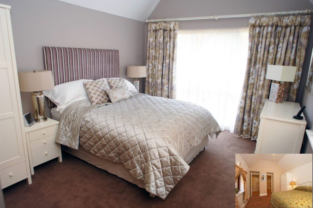 Modernised guest bedroom - before and after images - copyright Fabric Gallery & Interiors