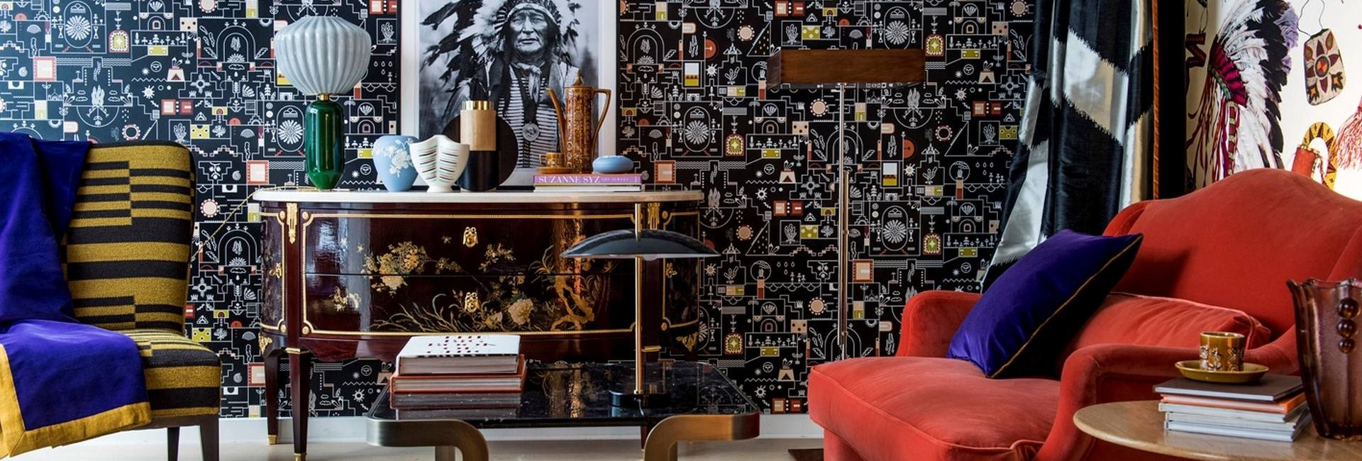 Eclectic roomset by Pierre Frey including furnishings, fabric and wallpaper all available from Fabric Gallery and Interiors in Dunnington, York