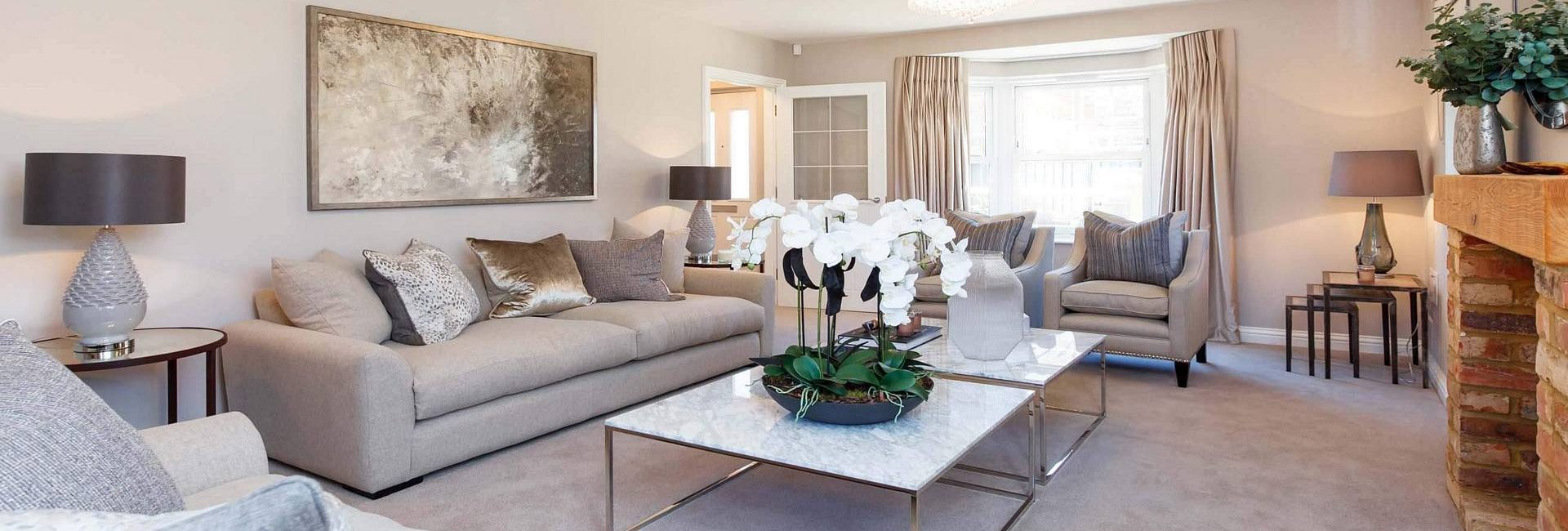 Stylish modern lounge in shades of taupe - recreate with Fabric Gallery and Interiors in Dunnington, York