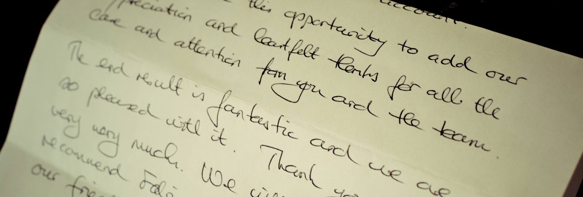 Photo of letter from satified customer - testimonials for Fabric Gallery and Interiors of Dunnington, York