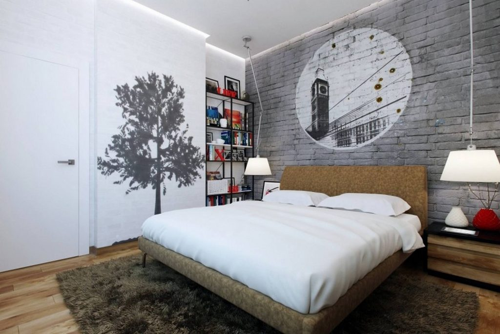 Teenagers bedroom with a graffiti style wallpaper