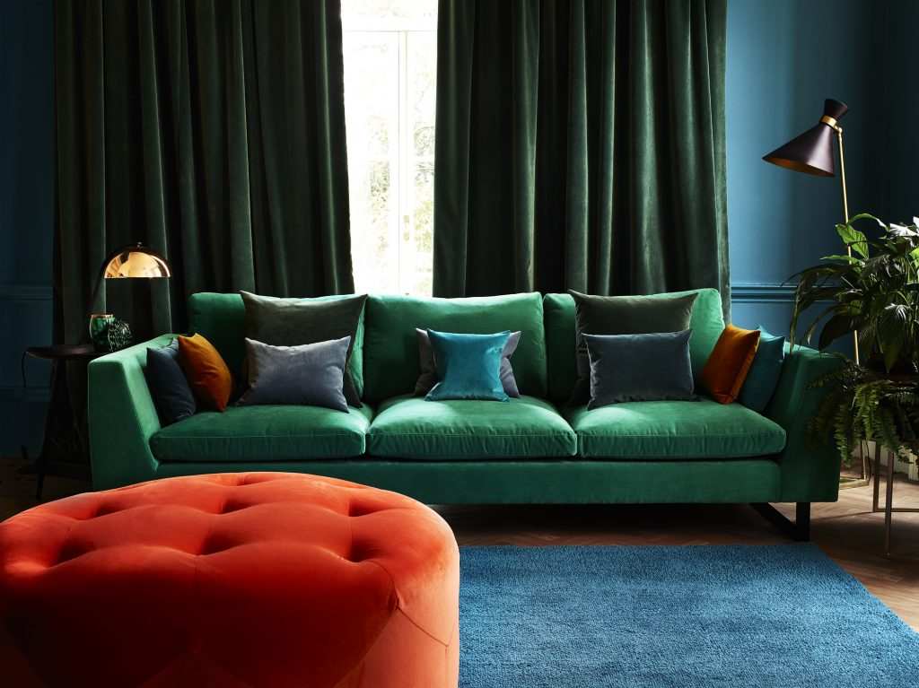 Linwood omega velvet curtains and upholstery from Fabric Gallery & Interiors, York