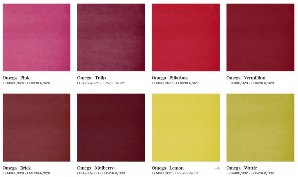 Examples of pure colours available in Linwood Omega velvets - from Fabric Gallery & Interiors
