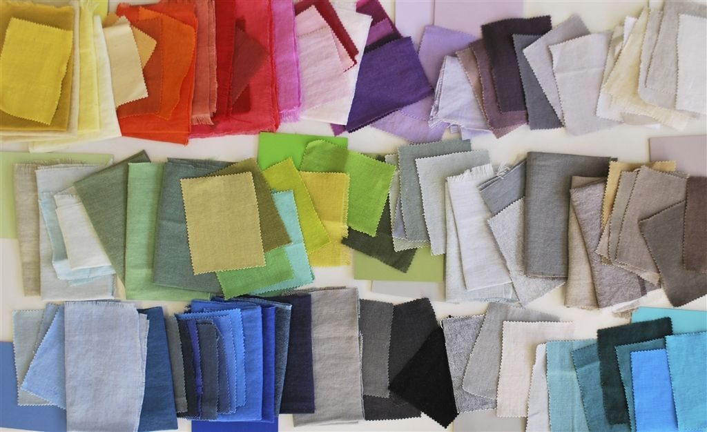 Brera Lino fabric swatches. 103 pure linen colours. Available from Fabric Gallery & Interiors