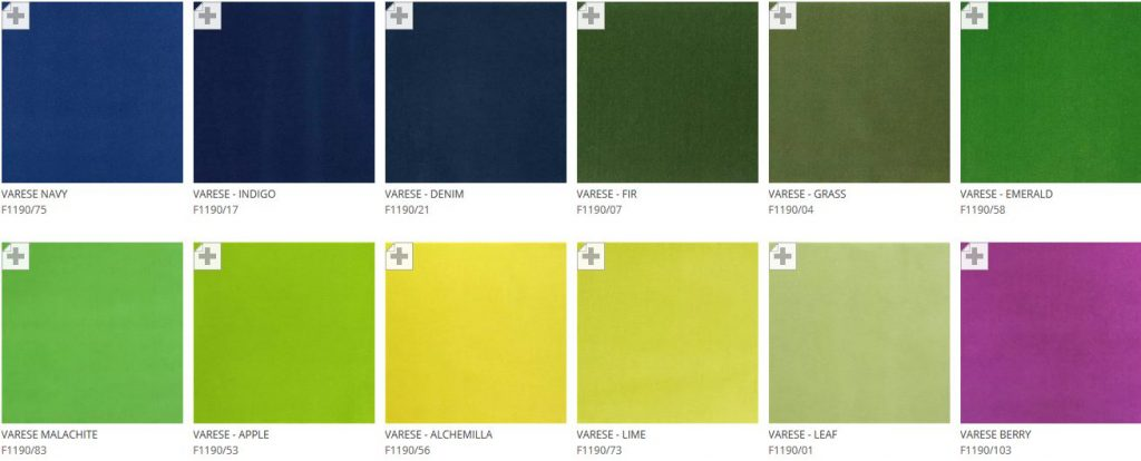 Designers Guild Varese velvet fabric colours available from Fabric Gallery & Interiors