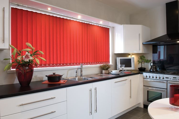 vertical blinds in a kitchen - image