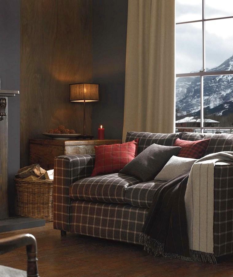 Abraham Moon woollen fabrics - sofa in mountain chalet photo