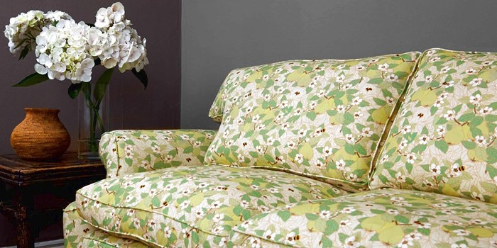 Emily Burningham Quince with Bees fabric - upholstered sofa image