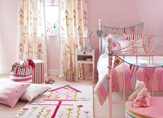 "Harlequin ""All About Me"" fabrics - image of girly bedroom"