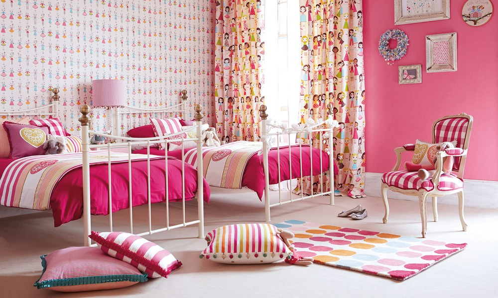 "Harlequin ""All About Me"" fabrics - image of girly bedroom roomset"