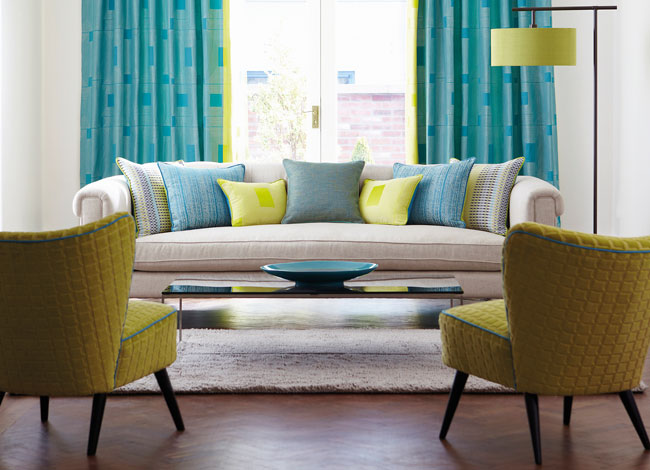 "Harlequin ""Momentum 3 & 4"" wallpaper and fabric - lounge image"