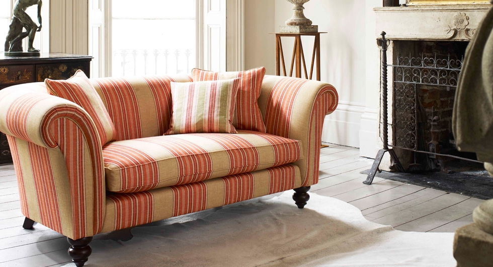 linwood-club-stripes fabric covered sofa - photo