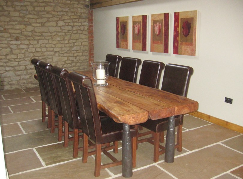 Cherrygarth Dining Room with bespoke handmade oak/steel table - photo copyright protected.