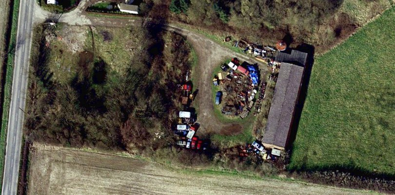 Aerial Photo of Derelict USAF Bowling Alley at Elvington, York before refurbishment